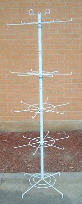 "Store Fixture Supplies  FLOOR MODEL SPINNER RACK with 24 Pegs 62"" tall WHITE"