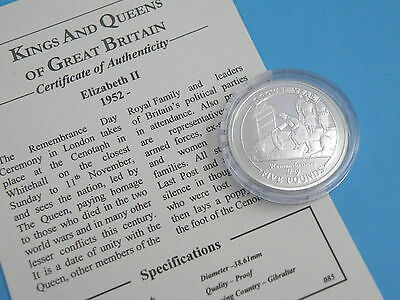 Gibraltar  - 2005 Sterling Silver Proof Crown Coin - Remembrance Day Cenotaph