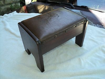Antique Footstool Walnut Wood Faux Leather Top Early 1900's All Original