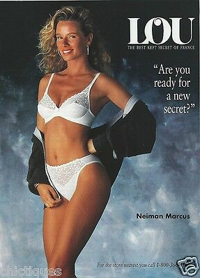 1992 LOU French Woman White Lacy BRA Panties Vintage LINGERIE Print NEIMAN'S Ad