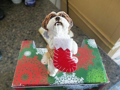 Shih Tzu, Gold/White Christmas Ornament Hand Cast and Hand Painted