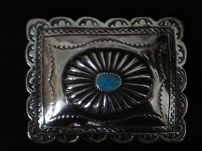 """Turquoise and Sterling Silver  Navajo Western Style Belt Buckle Stamped """"BKS"""""""