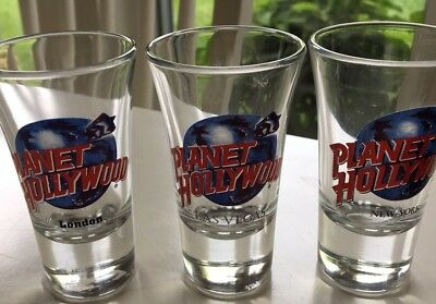3 Planet Hollywood Shot Glasses London, New York, Las Vegas