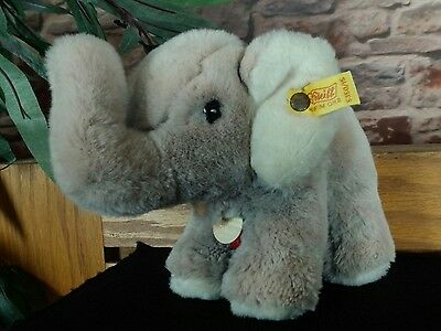 STEIFF Elephant Plush Vintage Cosy Button & Tag 5350/15 Western Germany Trunk Up