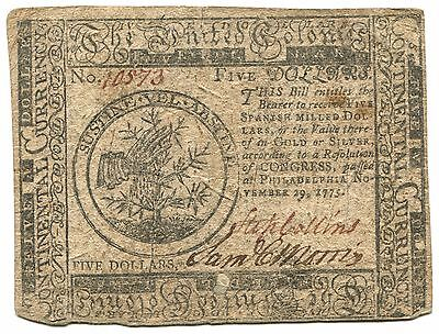 1775 (November 29th) $5 Continental Currency. Circulated
