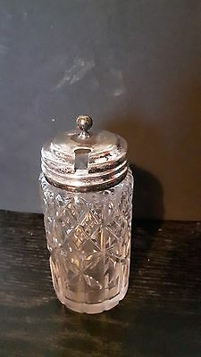 Glass Mustard Pot Silver Metal Lid