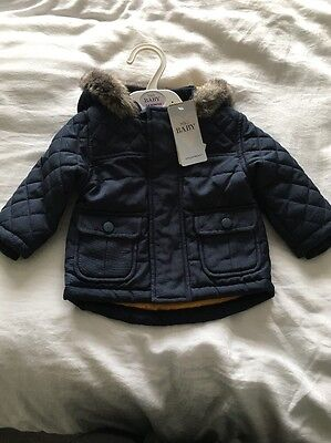 New M&S Baby Boy 3-6 Months Navy Hooded Coat   RRP £22