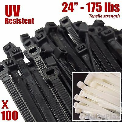 24 Inch Cable Ties - UV Weather Resistant  175 lbs Nylon Wrap Zip Ties 100 Pack
