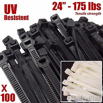 NiftyPlaza 24 Inch Cable Ties - 100 Pack - Heavy Duty 175 lbs Nylon Zip Ties