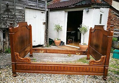 Antique French Lit Bateau walnut veneer Sleigh Bed / Day Bed Sofa