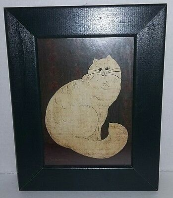 White Persian Cat By W. Kimble Framed Picture Photo Art Decoration Kitty Artwork