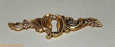 Vintage french gold brass escutcheon key hole cover ornate pediment furniture
