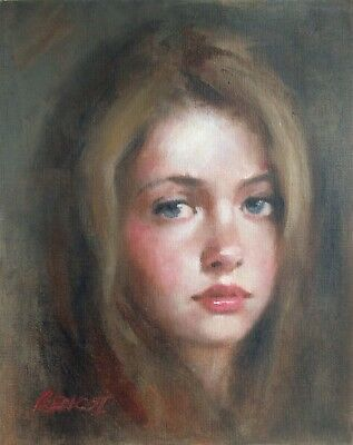 """Rencsi - """"Young Lady"""" Painting A Day Portrait original oil Fine Art Girl"""