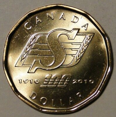 BU Canada Saskatchewan Roughriders 1910-2010 1 dollar loonie coin from mint roll