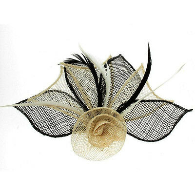 Cream and Black Fascinator 2 Tone Hessian Netted Rose on Clip Brooch Pin