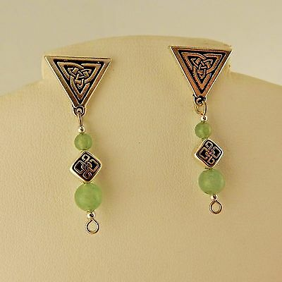 Silver Celtic Trinity Knot post earrings with Aventurine gemstone beads