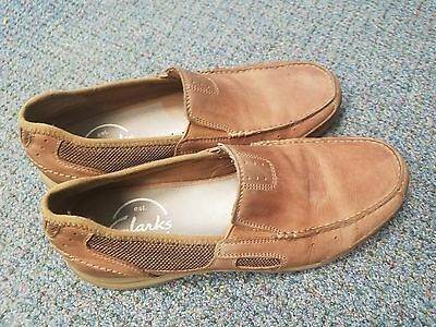 Men's CLARKS Armada Spanish Brown Leather Loafers Size 11 M Slip-On Shoes