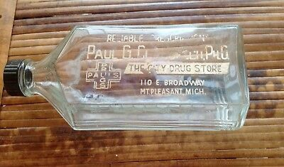 Antique Drug Store Medicine Advertising Bottle Mt.Pleasant MI