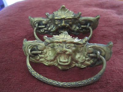 Antique Brass Drawer Pulls Lion Head Gargoyle Monster Lot of 2 Extra Puls