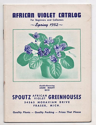 Spring 1952 Spoutz African Violet Catalog For Beginners & Collectors