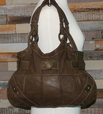 TANO Rugged Brown Leather Slouch Shopper Satchel Tote Hobo Purse Shoulder Bag