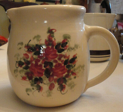 Antique Pottery Pitcher With Floral/sponge Design Exc Unmarked