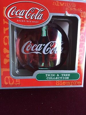 Coca Cola Trim A Tree Collection  Red Disk Hologram Ornament