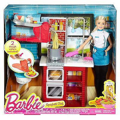 BRAND NEW! Mattel Barbie Spaghetti Chef Doll & Playset w/ 2 Dough Colors! (2015)