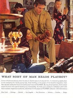 What Sort of Man Reads Playboy? Couple Vase Art 1974 Magazine - Print Ad