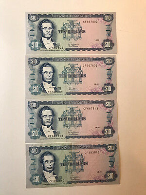 Jamaica 10 Dollar Notes 1989 One Series(802&803)One Series End In 813 Crisp Au