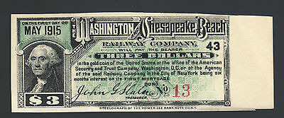 $3 1915 Washington & Chesapeake Beach Railway Gold Bond Coupon Note Paper Bill