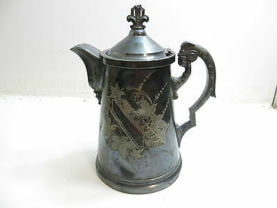 Antique 1886 Presentation Silver Plated Ornate Ram Head Handle Decorated Pitcher