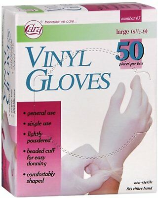 Cara Vinyl Gloves Fits Either Hands, Non-Sterile, Size Large - 50 Ct