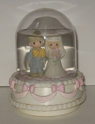 Precious Moments Bride & Groom Musical Waterball Snow Globe Turns Wedding March