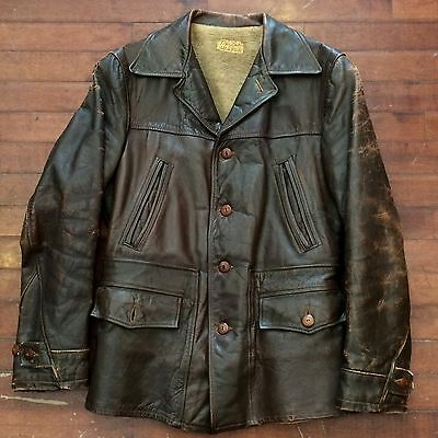Sears Topline Mens Small Vintage 40s Horsehide Leather Button Front Jacket Coat