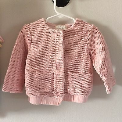 Zara Baby Girl Outerwear Pink Cable Knit Cardigan Sweater Preppy Button Front