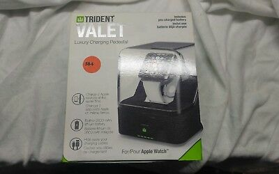 Trident Valet Case - Luxury Charging Pedestal for Apple iPhone & Watches Black