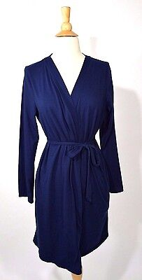 BUMP IN THE NIGHT Navy Cotton Blend Maternity Lounge Sleepwear Nursing Robe L