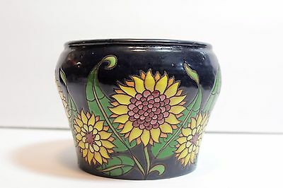 Art Pottery Vase Hand Made & Painted Ceramica Sunflowers Arts & Crafts INCISED