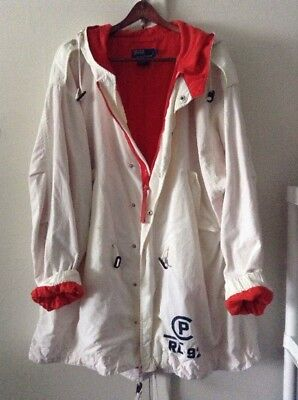 VINTAGE RL-'92  Men's Polo Ralph Lauren Sailing Jacket Parka, White, X Large