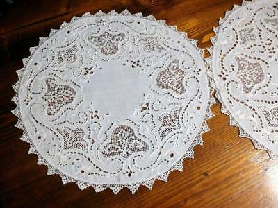 2 Antique Linen Doilys Ivory Embroidered Floral Open Work Net Lace 10.5""