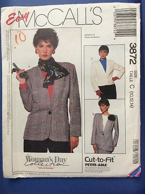 New McCalls Sewing Pattern 3872 Misses Unlined Jacket Easy FitSmall 10-12-14