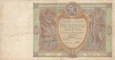 1929 Poland 50 Zlotych Note, Pick 71