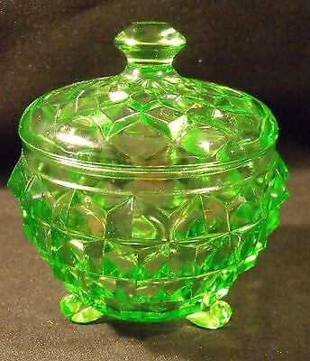 """Green Jeannette Cube Cubist 4"""" Powder Candy Jar With Lid"""