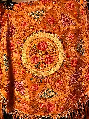 Antique 20s Hungarian silk Embroidered Round Tablecloth with long fringe