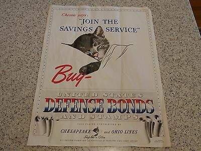 """15X20"""" 1941 CHESSIE KITTEN C&O LINES WWII Buy Defense BONDS Railroad POSTER-NR"""