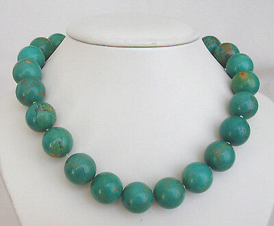 """Vintage/Antique Chinese Turquoise 15mm Bead Necklace - 16-1/4"""""""