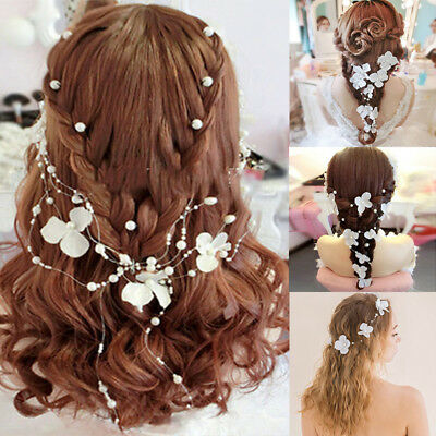 1xBridal Flower Pearl Bendable Vine Hair Accessories Wired Beaded Headband Party