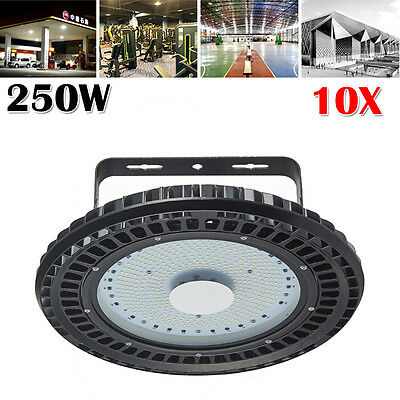 10x 250W UFO LED High Bay Lamp Warehouse Industrial Factory Shed Lighting