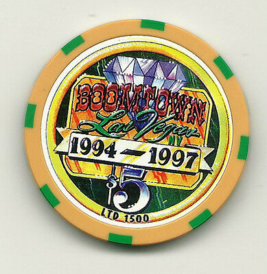 $5 chip from Las Vegas -- Boomtown Casino -- 1994-1997, 3rd Anniversary
